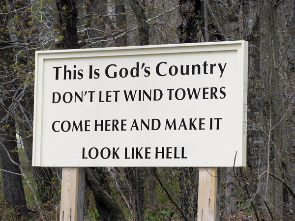 This sign greets visitors to Highland Plantation on the main road into the unorganized territory. If a project by Highland Wind LLC is successful, the area would be home to a 39-tower wind farm.