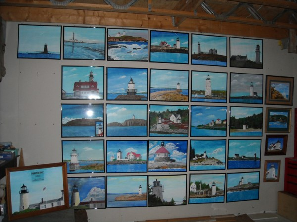 Some of former lighthouse keeper Ernie DeRaps's lighthouse paintings.