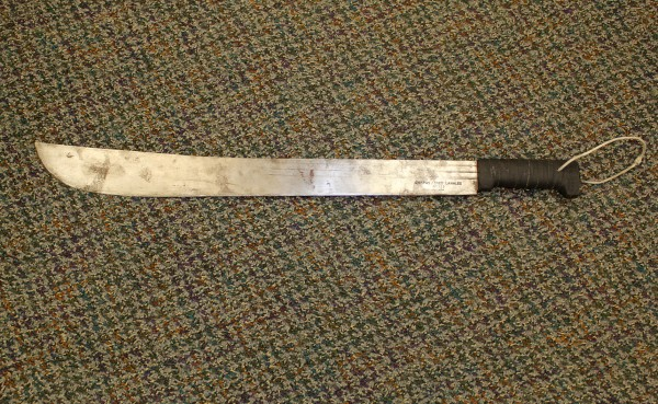 The 2-foot-long machete that a man wielded as he tried to steal drugs this morning from the Main Street Rite Aid, according to police.  At about 10:26 a.m., Joshua Powell, 23, of Rockland walked into the Rite Aid with a machete, jumped over the pharmacy counter, showed the pharmacist the machete and demanded drugs, according to Deputy Chief of Police Wally Tower.