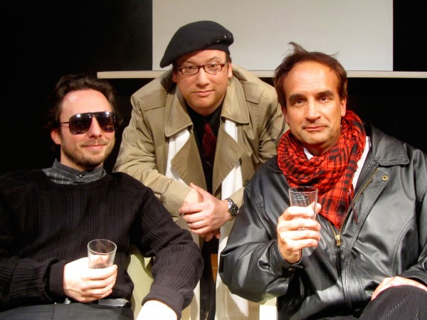 "The cast of the Belfast Maskers production of ""Art"" (from left to right), Serge (Erik Perkins), Marc (Jason Bannister), and Yvan (Jim Tatgenhorst)."
