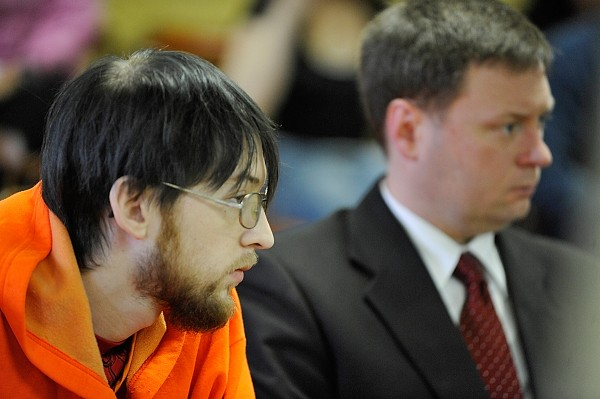 Steven Mayo (left), 22,  and his attorney William Logan, right, listen to Superior Court Judge Kevin Stitham (not pictured) during Mayo's his initial appearance in Dover-Foxcroft  Monday morning, May 16, 2011. Last week State Police arrested Mayo and charged him with murder in connection with the shooting death of his 20-year-old brother, Ryan Mayo, on May 1, 2011.