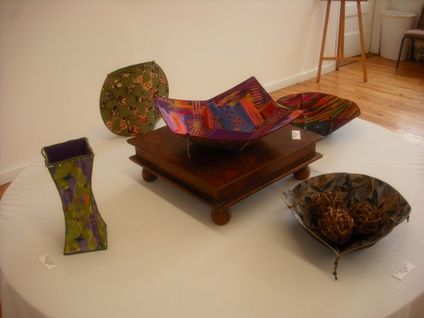 "Fabric and mixed-media vessels and bowls by Amy Nichols of Brooks is on display ""A Moment in Time,"" an exhibit that will run through May 30 at the Lincoln Street Center for Arts and Education at 24 Lincoln St. in Rockland."