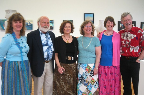 Artists DebOrah Diemer (from left), Richard Whittier, Rainy Brooks, Betsy Headley, Amy Nichols and Bob Nichols stand together at the opening of &quotA Moment in Time,&quot an exhibit that will run through May 30 at the Lincoln Street Center for Arts and Education at 24 Lincoln St. in Rockland.