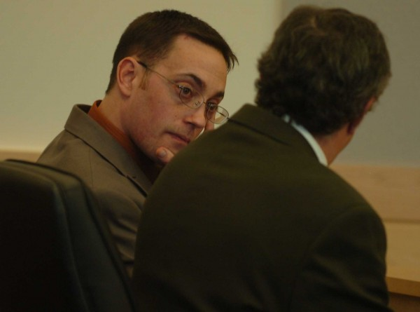 Nathaneal Nightingale confers with his attorney, Jeffrey Silverstein, following the verdicts at the conclusion of his trial on Tuesday, May 31, 2011, at the Penobscot Judicial Center in Bangor. Nightingale was found guilty of manslaughter, but not murder, in the November 2009 death of Michael Miller Sr., and also guilty of murder in the death of Miller's wife Valerie in the Miller's Webster Plantation home.