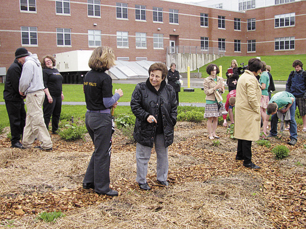 Mount View High School student members of the PeaceJam club on Tuesday hosted 2003 Nobel Peace Prize laureate Shirin Ebadi of Iran. After speaking to the school, Ebadi (center) participated in a brief ceremony in the club's Peace Garden.