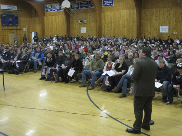 High school student Zach Parker presents his legislation on banning protests at military funerals to a crowd of hundreds who packed the Searsport District Middle School gym on Wednesday, January 5, 2011. Parker's proposal won him some national attention, with an appearance on the &quotFox & Friends&quot morning program.
