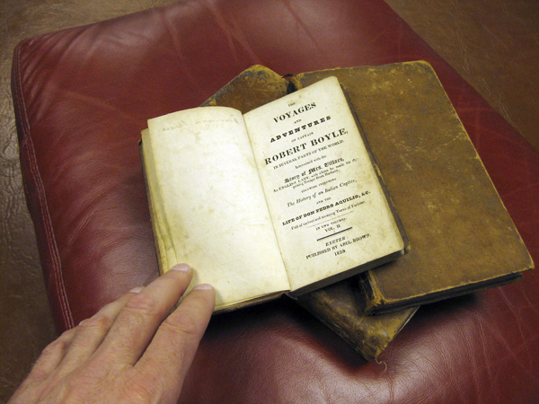 This antique book, dating to 1829, was one of three that found its way back to the Camden Public Library recently, a donation from Chuck Regan of California.