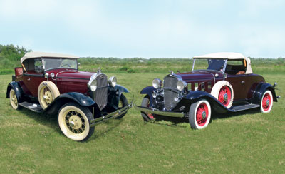 These vintage cars will be on display at the Owls Head Transportation Museums Ford and Chevy Auto Spectacular and Antique Aeroplane Show Saturday and Sunday, May 28-29, at the museum in Rockland.