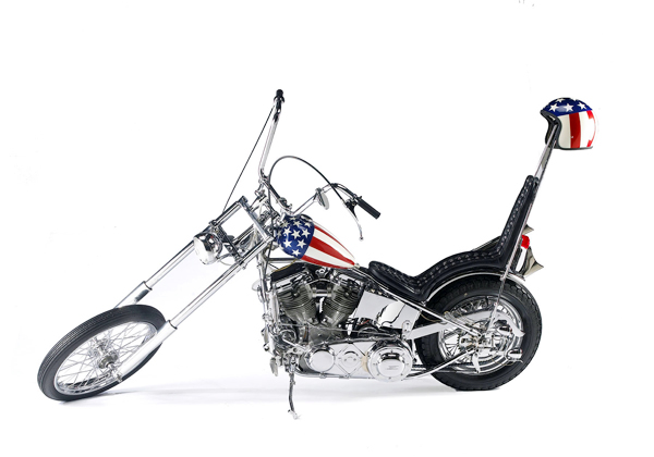 "This recreation of the 1963 Harley Davidson ""Captain America""? motorcycle sold for $52,650 recently at Bonhams and Butterfields in California."