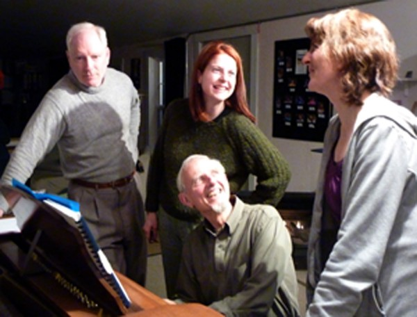 """Rehearsing for """"Sondheim Revue"""" are (from left) William Ryan, Kristen Burkholder, Dee Bielenberg and (seated) Charlie Grey. The show is set for 7:30 p.m. May 6-7, at Waterfall Arts in Belfast."""