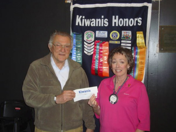 The St. Bernard's Soup Kitchen received a $500 donation from the Kiwanis Club of Rockland at its meeting April 11. Accepting the donation from Kiwanis President Marjorie Kinney is soup kitchen volunteer and Kiwanis member Ray Comeau.