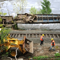Crews still working on Bucksport train derailment that sent 2 cars into Penobscot River