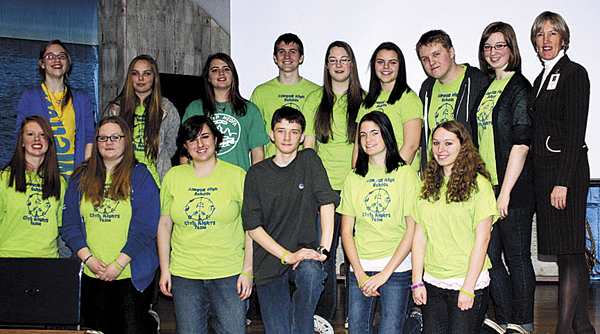 Participants in a recent Bangor High School Civil Rights team presentation on bullying given to students at James F. Doughty Middle School are (back row, from left) Emma Howard, Caitlin Jenkins, Lillian Tuck, Zachary Cushing, Althea Unertl, Isabelle Jonason, Cameron Grover-White, Aleszea Joles, Superintendent Betsy Webb; (front row) Sarah Hogencamp, Caleigh Grogan, Mary Beth Case, Tyler Williams, Brittany Goodin and Emily Baker.