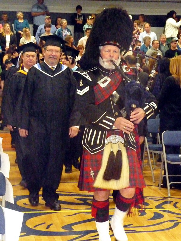 Bagpiper Ernie Smith led the Class of 2011 into its commencement exercises Friday morning at Washington County Community College in Calais.