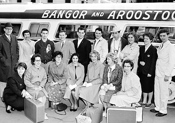 "The Bangor High School drama group earned a top rating of ""excellent"" with its one-act play ""Gigi"" on April 29, 1961, at the New England Drama Festival in Newton, Mass. Arriving home were cast and crew members (front row, from left) Mary Bamford, Helen Trowbridge, Elizabeth Trowbridge, Lois Ingeneri, ""All New England Actress""; Bonnie Silver, Norma Smith and Diane Cuozzo; (standing) Herbert P. Billett, Mrs. Barbara Browne, director; Jeff Gass, Donald McLemore, Robert Peters, Richard Naugler, Alan Sollien, Susan McGinley, Beverly Harriman and Fred Allen."