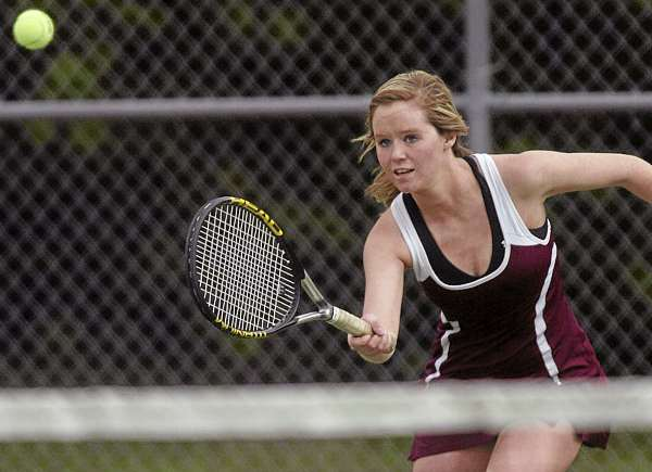 Bangor's Caroline Hettermann races towards the next during the Eastern Maine Class A quarterfinal team tennis match held on Friday, June 3, 2011, at Brewer.