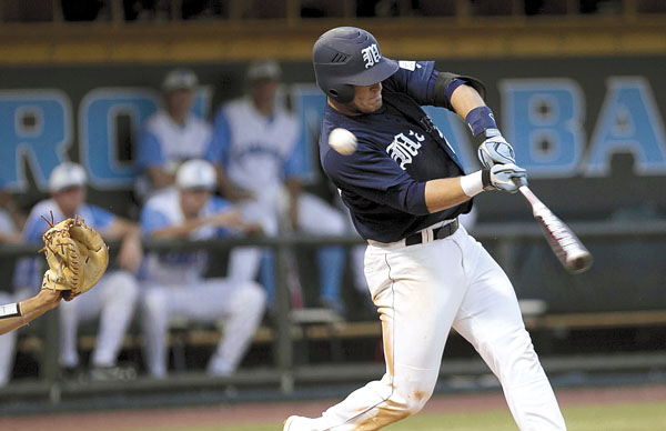 Maine's Justin Leisenheimer (24) fouls off a ninth-inning pitch by North Carolina's Michael Morin (28) in the ninth inning of the NCAA Chapel Hill Regional on Friday June 3, 2011 at Boshamer Stadium in Chapel Hill, N.C. North Carolina won 4-0.