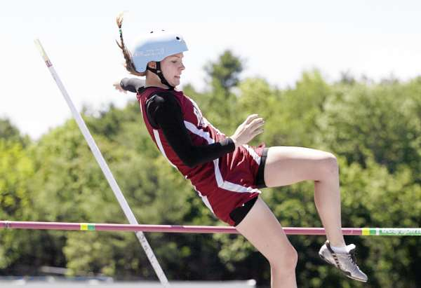Bangor's Morgan Johnson clears the bar during the pole vault Saturday June 4, 2011 during the Class A Track and Field Championships in Windham, Maine. She finished fifth with a height of 8 feet, 6 inches.