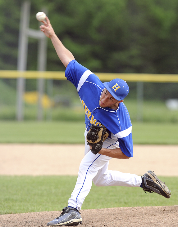 Hermon High School's Cody Veilleux delivers a pitch against Gardiner High School in Hermon Tuesday afternoon.
