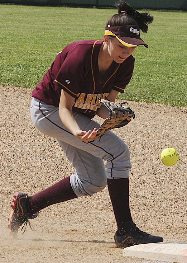 Caribou first baseman Rebecca McDougal bobbles a line drive at first base during first-inning action against Bucksport in Brewer on Wednesday in their Eastern Maine Class C semifinal. Bucksport won 2-1.