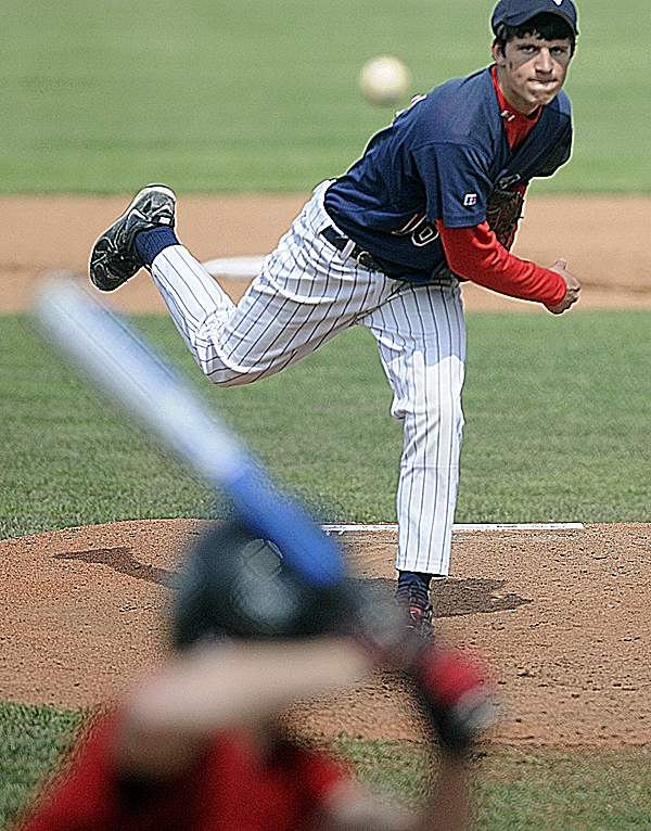 Bangor Christian's Tyler Alexander pitches against Katahdin High School of Stacyville in the first inning of their Eastern Maine Class D final at Mansfield Stadium in Bangor Wednesday afternoon. Katahdin won 2-1 in nine innings.