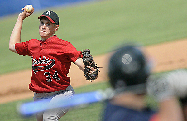 Katahdin High School's Brandon Robinson pitches in the first inning of Wednesday's Eastern Maine Class D baseball final against Katahdin of Stacyville at Mansfield Stadium. Katahdin won 2-1 in nine innings.
