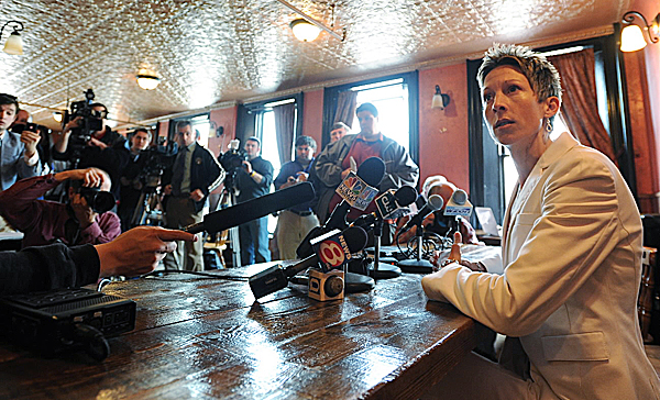 Former UMaine women's basketball coach Cindy Blodgett takes questions from a packed room of journalists at Paddy Murphy's bar in downtown Bangor on March 31, a couple of days after she was fired by the university. Blodgett has been hired as an assistant coach at the University of Rhode Island.