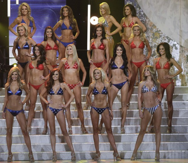 The quarterfinalists stand at the end of the swimsuit competition during the 2011 Miss USA pageant, Sunday, June 19, 2011, in Las Vegas. Miss Maine, Ashley-Lynn Marble (back row, third from left), is one of 8 finalists in the competition.