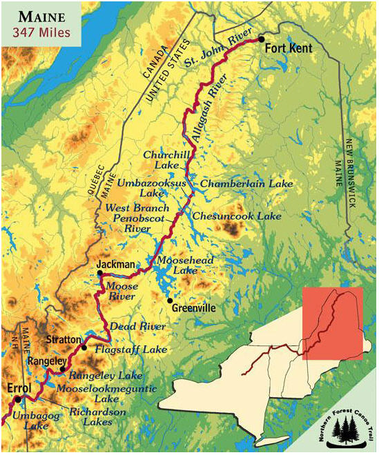 Map showing Laurie Chandler's 347 mile children's cancer research fundraising trek across northern Maine this summer. Credit: Northern Forest Canoe Trail