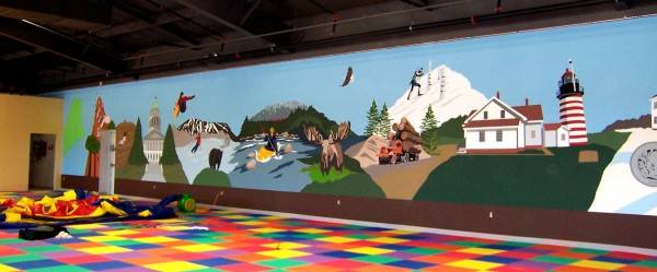 Chez Cherry's mural of famous Maine landmarks at the Maine Jump in June 2011.