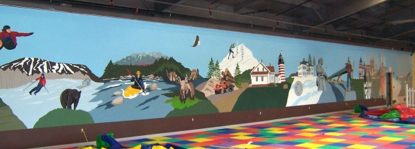 Chez Cherry's mural of famous Maine landmarks.