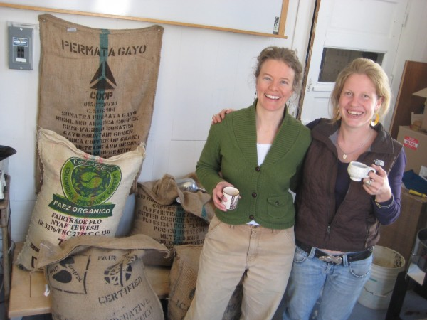 Melissa Raftery (left) and Megan Dewey-Wood roast coffee under the 44 North Coffee label in Deer Isle.