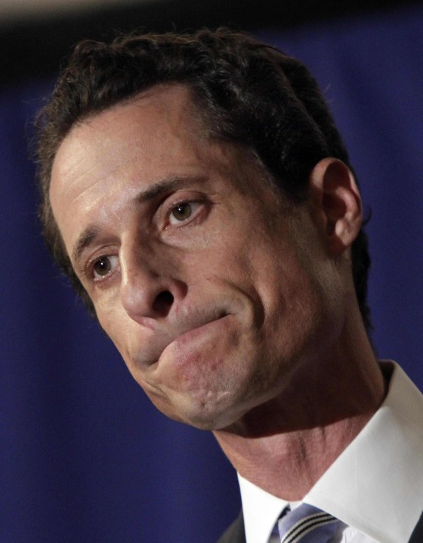 U.S. Rep Anthony Weiner, D-N.Y., addresses a news conference in New York on Monday, June 6, 2011. After days of denials, a choked-up New York Democratic Rep. Anthony Weiner confessed Monday that he tweeted a bulging-underpants photo of himself to a young woman and admitted to &quotinappropriate&quot exchanges with six women before and after getting married.