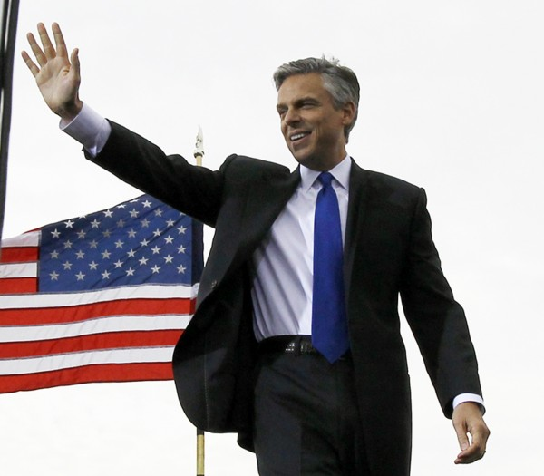 Republican presidential candidate, former Utah Gov. Jon Huntsman waves to supporters before officially announcing his bid, Tuesday, June 21, 2011, at Liberty State Park in Jersey City, N.J.