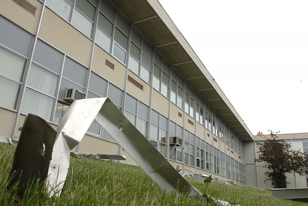As part of the multimillion dollar renovation at Bangor High School, the roof of the expansive building is undergoing significant improvements, including the replacement of metal edging. Pictured above is the old metal edging, which has been removed and is temporarily on the side lawn of the school.