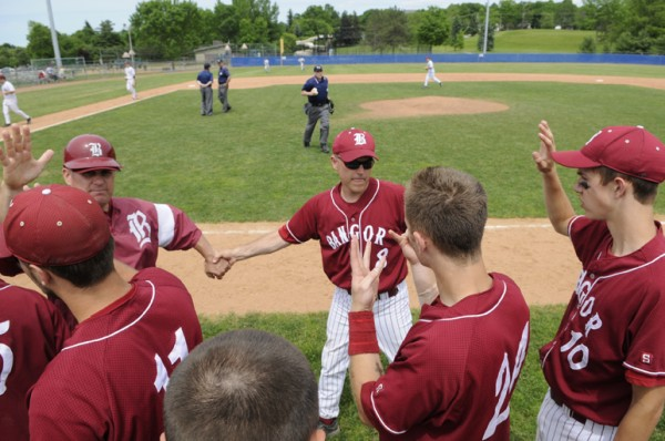 The Bangor High School Rams celebrate their 10-0 victory over Edward Little at Mansfield Stadium in Bangor on Saturday, June 11, 2011.