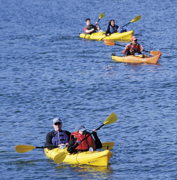 Kayakers paddle near Bar Harbor earlier in June.