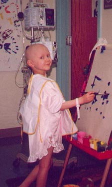 The Brianna Rachel Fund for Kids is named after Brianna Koncinsky, pictured here painting in the hospital while she was being treated for brain cancer. Koncinsky died at age 6 on Aug. 9, 2000.