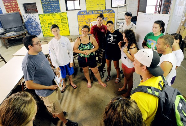 Camp Director Josh LaPrell talks with members of his staff during the last day of staff training at the Auburn-Lewiston YMCA's Camp Connor in Poland on Friday. Children will arrive Monday for the first five-day session.