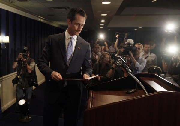 U.S. Rep. Anthony Weiner, D-N.Y., arrives for a news conference in New York,  Monday, June 6, 2011. After days of denials, a choked-up New York Democratic Rep. Anthony Weiner confessed Monday that he tweeted a bulging-underpants photo of himself to a young woman and admitted to &quotinappropriate&quot exchanges with six women before and after getting married.
