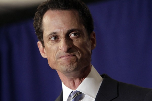 "U.S. Rep. Anthony Weiner, D-N.Y., reacts during a news conference in New York,  Monday, June 6, 2011. After days of denials, a choked-up New York Democratic Rep. Anthony Weiner confessed Monday that he tweeted a bulging-underpants photo of himself to a young woman and admitted to ""inappropriate"" exchanges with six women before and after getting married."