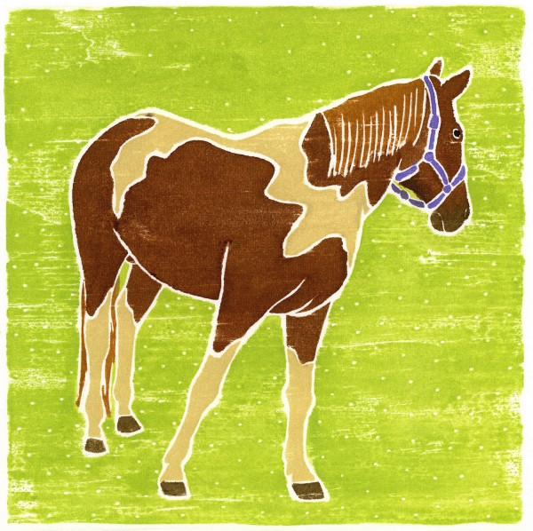 """Brown and White Horse,"" white-line woodblock print by Willy Reddick, is on display at the exhibit ""Hooves, Fur and Feathers,"" which will run through July 18 at the Maine Farmland Trust Gallery at 97 Main St."