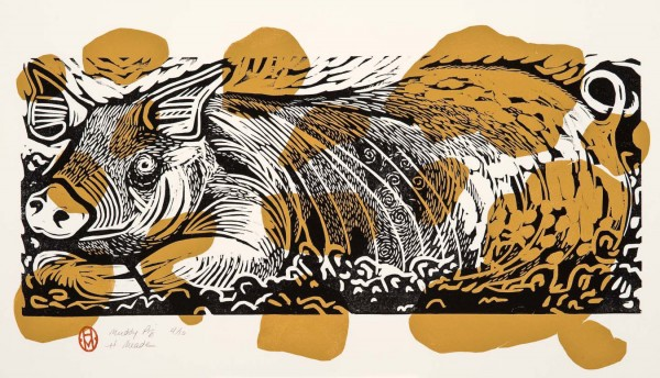 """Muddy Pig,"" woodblock and linoleum print by Holly Meade, is on display at the exhibit ""Hooves, Fur and Feathers,"" which will run through July 18 at the Maine Farmland Trust Gallery at 97 Main St."