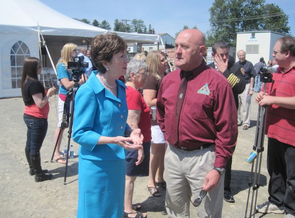 "U.S. Sen. Susan Collins and Vern Ouellette, the director of the Aroostook County Emergency Management Agency, tour The County on Friday, June 10, after three tornadoes hit the region last week. Officials are considering applying for federal disaster assistance if the level of damages rises to the monetary level needed to qualify. ""Right now, we are working to evaluate all of the damage,"" Ouellette explained. ""We are at $1.2 million in damages right now, and we need $1.65 million to qualify for aid."""