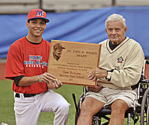 Sam Balzano of Deering High School in Portland was named the 20th recipient of the annual Dr. John W. Winkin Award, symbolic of the state's Mr. Baseball. Winkin presented the award to Balzano before the East-West Senior All-Star game at Mahaney Diamond in Orono Friday night.