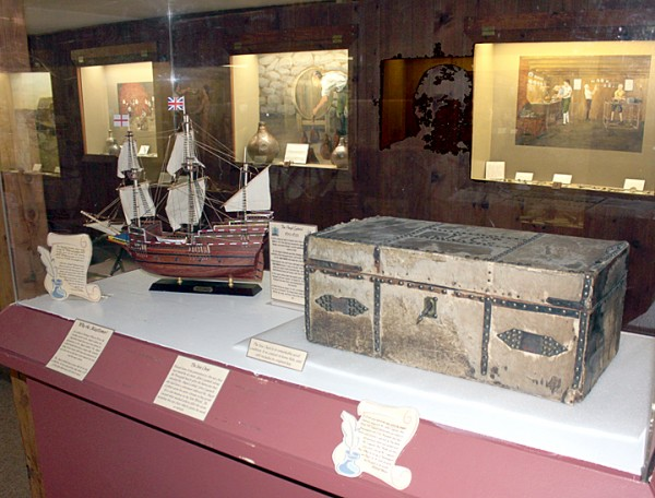 A 376-year-old, horsehide trunk that survived the 1635 shipwreck of the Angel Gabriel at Pemaquid now is on display at the Colonial Pemaquid State Historic Site museum in New Harbor. The trunk, once owned by Pemaquid colonist John Cogswell, has been loaned by the Cogswell family to the museum for display. The ship model shows what the Angel Gabriel, similar to the Mayflower that brought the Puritans to Plymouth, Mass., looked like.