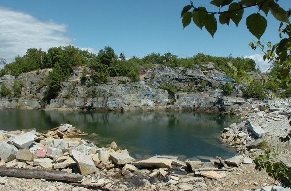 The Mt. Waldo Quarry is seen on Sunday, Aug. 1, 2010, a popular swimming hole where a woman died Saturday. Amy Willey, 39, of Bucksport was killed when she jumped from a ledge and failed to resurface.