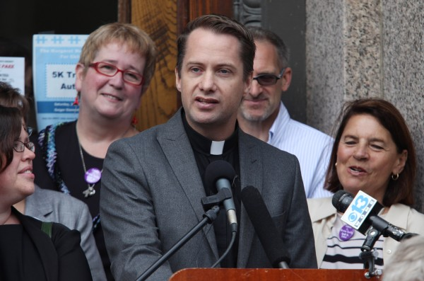 Rev. Michael Gray, a United Methodist pastor in Old Orchard Beach, speaks Thursday, June 30, 2011, at a news conference in Lewiston where it was announced that gay marriage supporters are laying the groundwork for another referendum on same-sex unions in the state. Supporters are working to get 57,000 signatures to get the issue on the ballot in November 2012.