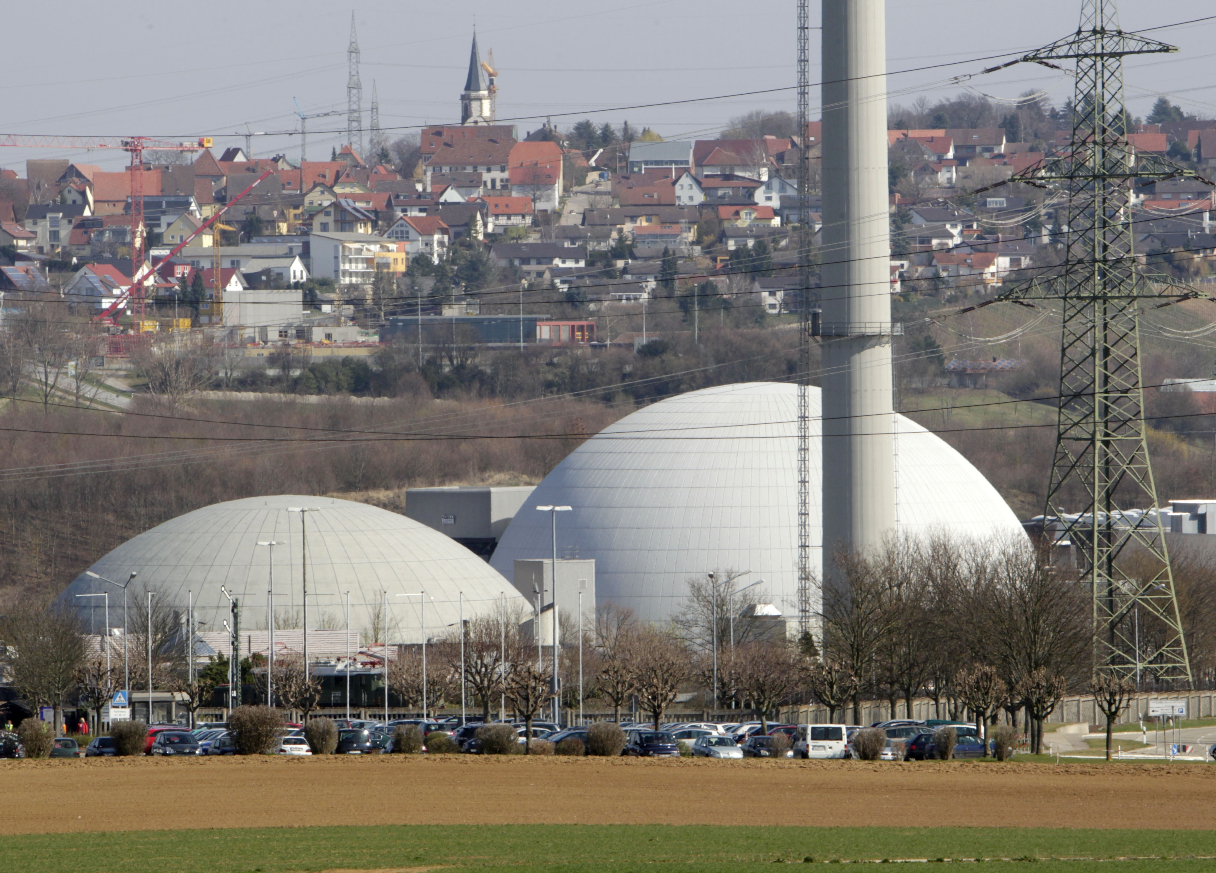 The nuclear plant of Neckarwestheim, southern Germany photographed in March. Germany's environment minister said Monday, May 30, 2011, that Chancellor Angela Merkel's coalition government has agreed to shut down all of the country's nuclear power plants by 2022.