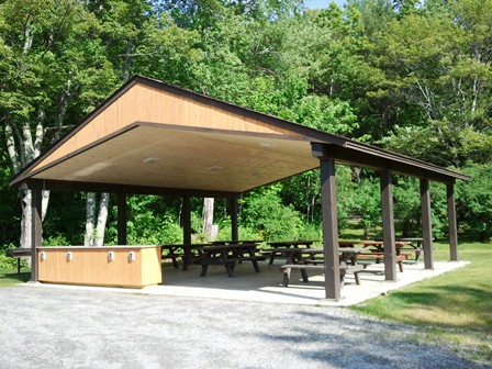 The new Damariscotta Lake State Park group shelter has improved features for a variety of group activities.